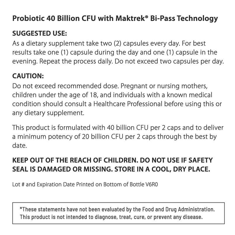 SUGGESTED USE Probiotic 40 Billion CFU