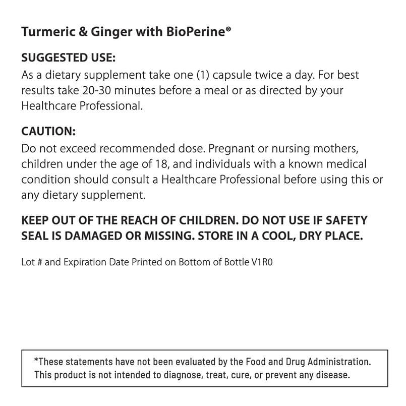 SUGGESTED USE Turmeric & Ginger
